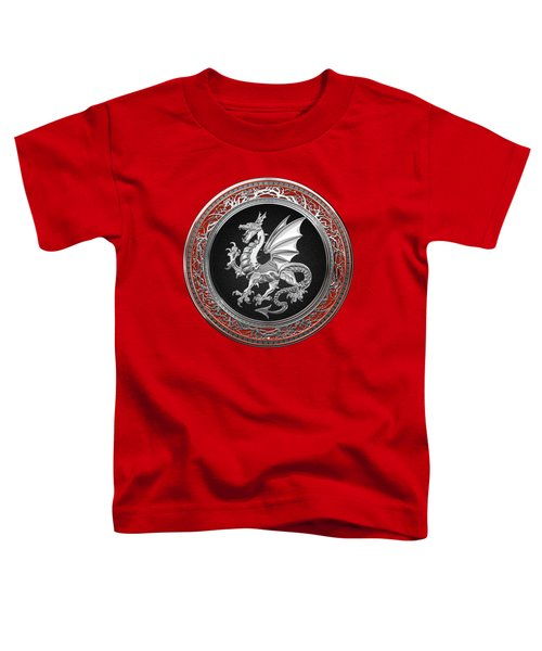 Silver Winged Norse Dragon - Icelandic Viking Landvaettir On Black And Silver Medallion Over Red  Toddler T-Shirt
