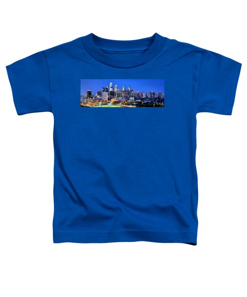 Philadelphia Skyline At Night Evening Panorama Toddler T-Shirt by Jon Holiday