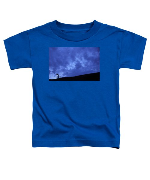 A Silhouette Of A Woman Mountain Biking Toddler T-Shirt