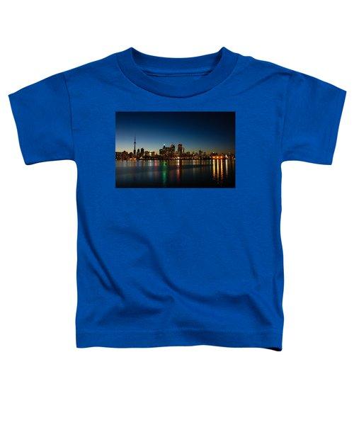 Blue Hour - Toronto's Dazzling Skyline Reflecting In Lake Ontario Toddler T-Shirt