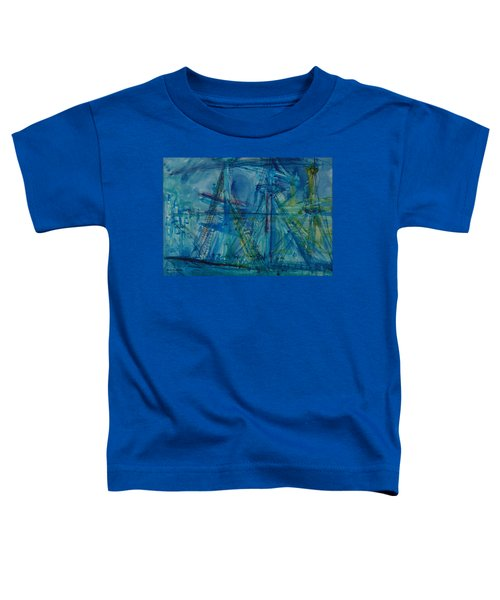 Blue Schooner Pen & Ink With Wc On Paper Toddler T-Shirt