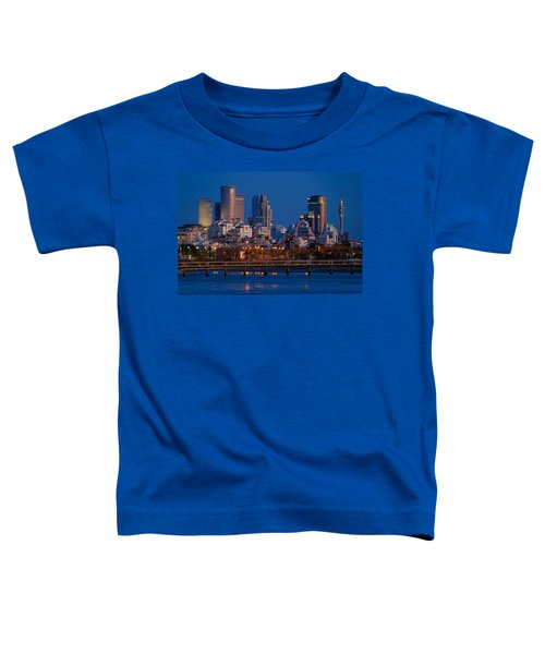 city lights and blue hour at Tel Aviv Toddler T-Shirt