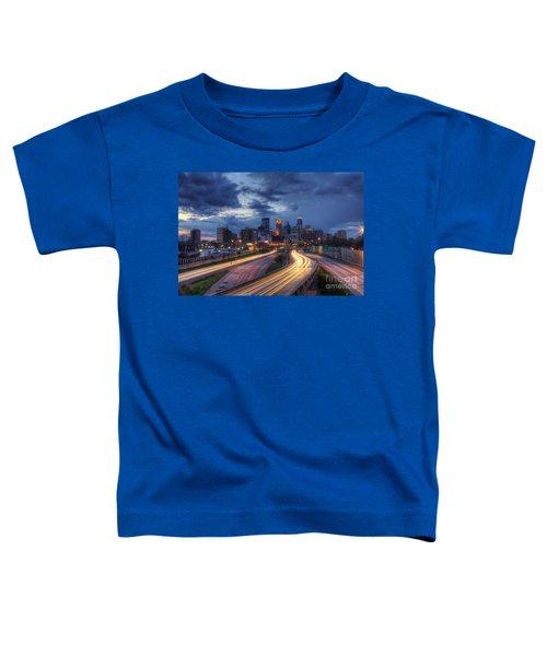 Downtown Minneapolis Skyline On 35 W Sunset Toddler T-Shirt