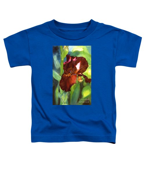 Watercolor Of A Tall Bearded Iris In Sienna Red Toddler T-Shirt