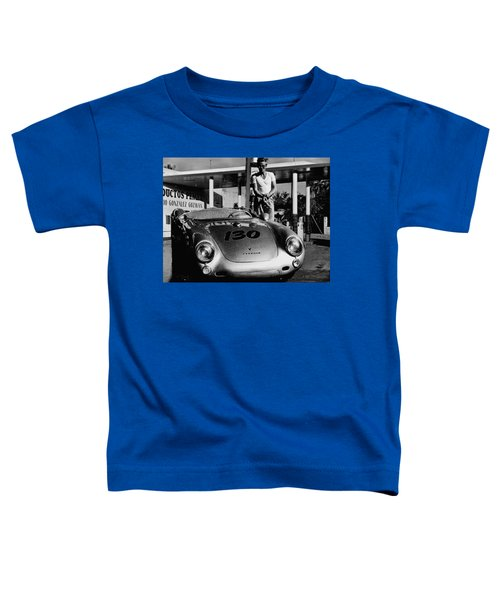 James Dean Filling His Spyder With Gas In Black And White Toddler T-Shirt