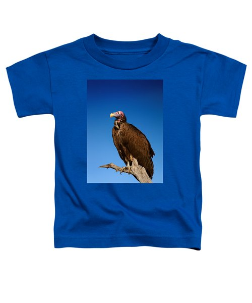 Lappetfaced Vulture Against Blue Sky Toddler T-Shirt by Johan Swanepoel