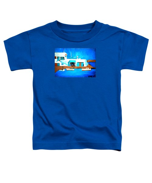 Toddler T-Shirt featuring the painting Paros  Cute Spot On Greek Island by Colette V Hera  Guggenheim