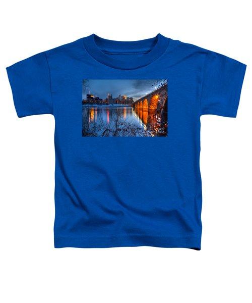 Minneapolis Skyline Images Stone Arch Bridge Spring Evening Toddler T-Shirt