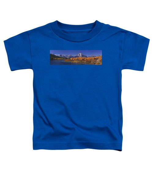 Panorama Fall Morning Oxbow Bend Grand Tetons National Park Wyoming Toddler T-Shirt