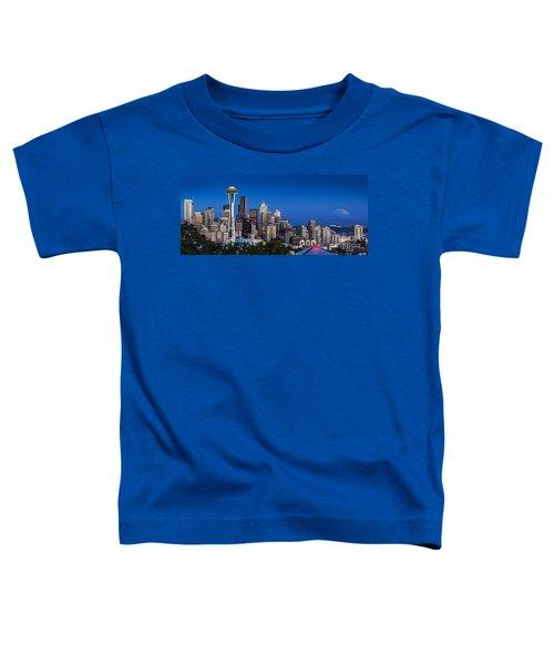 Seattle Skyline Panoramic Toddler T-Shirt