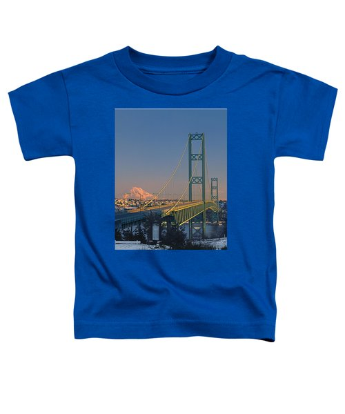 1a4y20-v-sunset On Rainier With The Tacoma Narrows Bridge Toddler T-Shirt