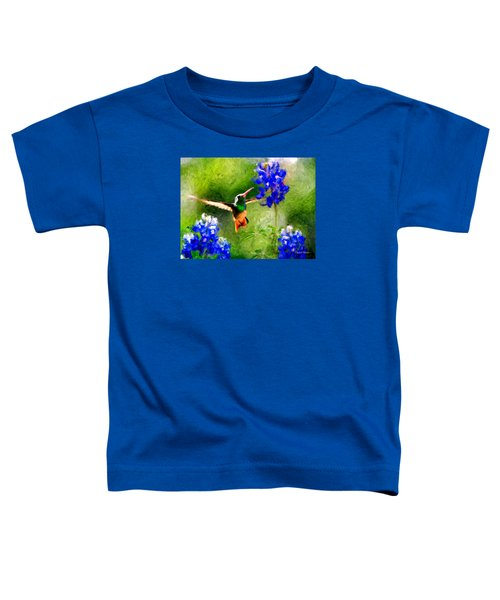 Da161 Texas Bluebonnet Hummingbird By Daniel Adams Toddler T-Shirt