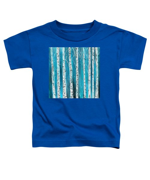 Turquoise Birch Trees II- Turquoise Art Toddler T-Shirt
