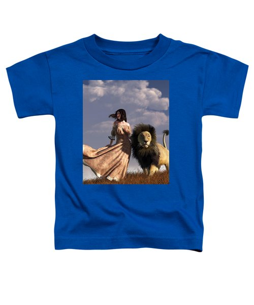 Woman With African Lion Toddler T-Shirt