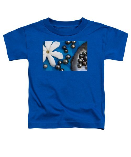 Black Pearls And Tiare Flower Toddler T-Shirt