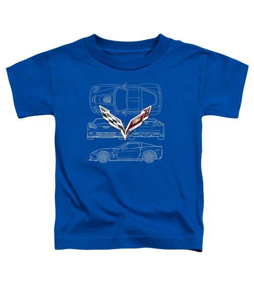 Chevrolet Corvette 3 D Badge Over Corvette C 6 Z R 1 Blueprint Toddler T-Shirt by Serge Averbukh