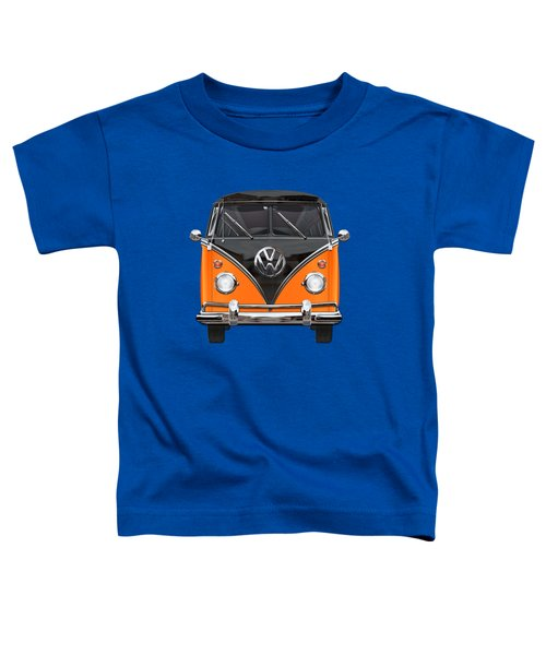 Volkswagen Type 2 - Black And Orange Volkswagen T 1 Samba Bus Over Blue Toddler T-Shirt by Serge Averbukh