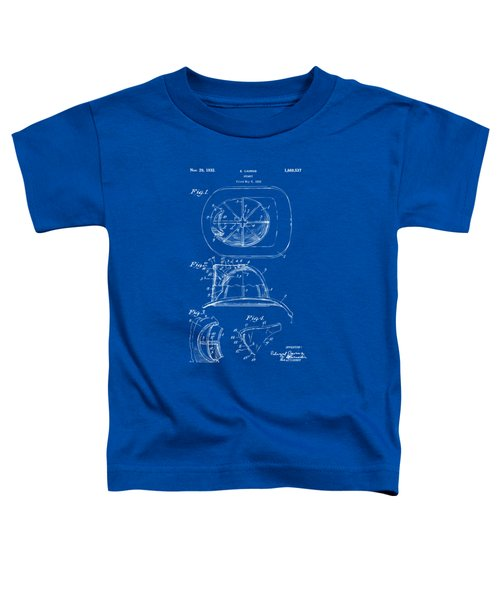 1932 Fireman Helmet Artwork Blueprint Toddler T-Shirt