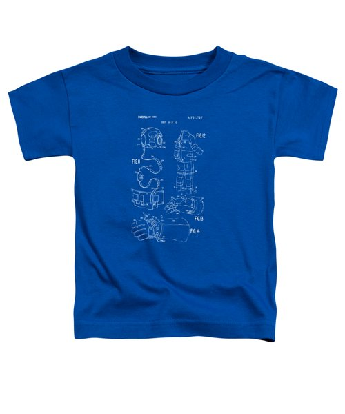 1973 Space Suit Elements Patent Artwork - Blueprint Toddler T-Shirt by Nikki Marie Smith