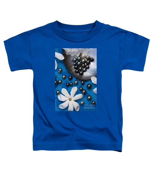 Black Pearls And Tiare Flowers Toddler T-Shirt