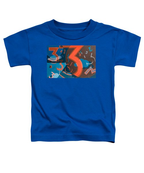 3 In Blue And Orange Toddler T-Shirt