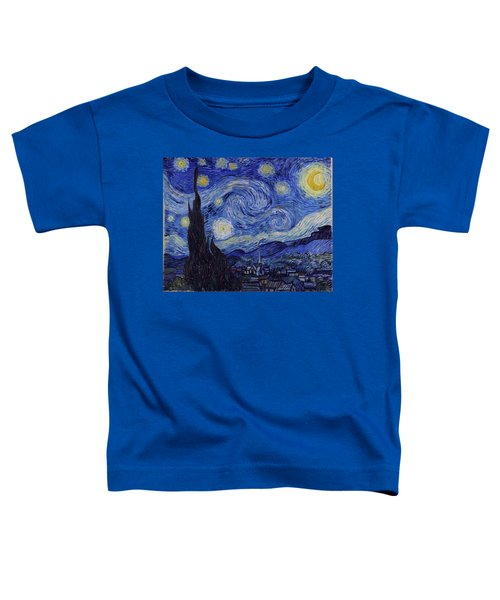Toddler T-Shirt featuring the painting Starry Night by Van Gogh