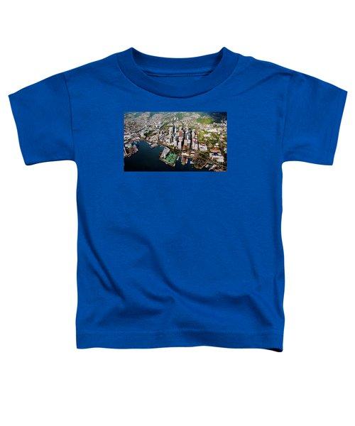 Aerial Panorama - Downtown - Honolulu, Oahu, Hawaii  Toddler T-Shirt