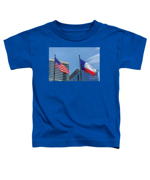 American And Texas Flag On Top Of The Pole Toddler T-Shirt