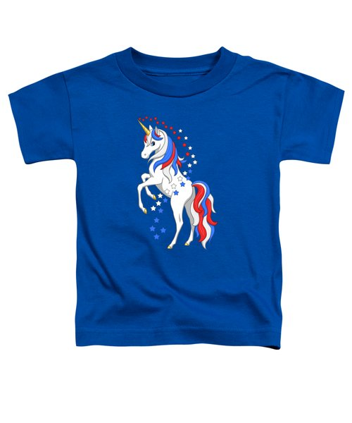 American Flag Patriotic Unicorn Toddler T-Shirt
