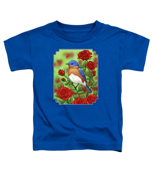 New York State Bluebird And Rose Toddler T-Shirt by Crista Forest