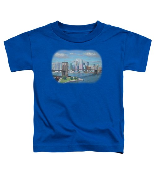 New York Brooklyn Bridge Toddler T-Shirt by Renato Maltasic