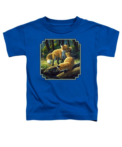 Red Foxes - Sibling Rivalry Toddler T-Shirt by Crista Forest