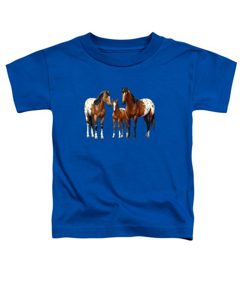 Bay Appaloosa Horses In Winter Pasture Toddler T-Shirt