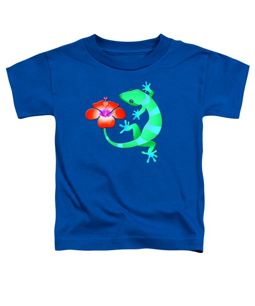 Blue And Green Jungle Lizard With Orange Hibiscus /background Toddler T-Shirt