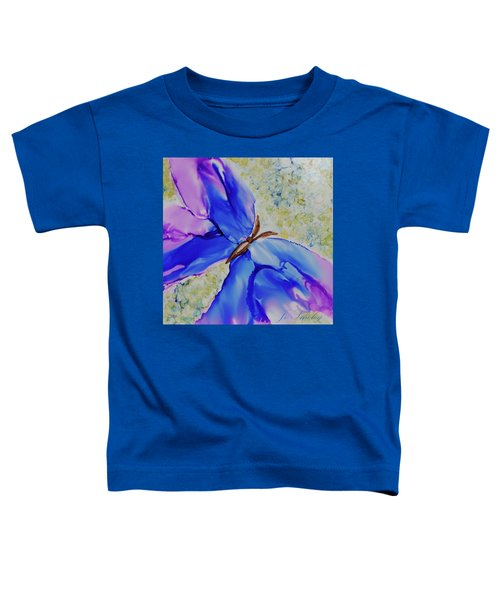 Toddler T-Shirt featuring the painting Blue Butterfly by Joanne Smoley