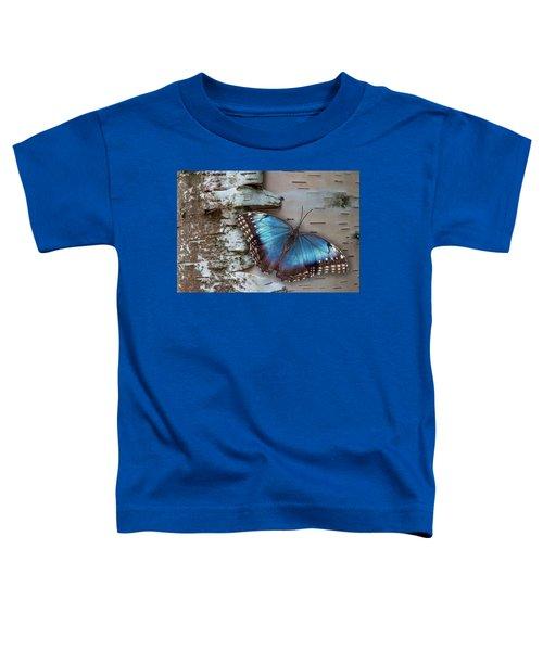 Blue Morpho Butterfly On White Birch Bark Toddler T-Shirt