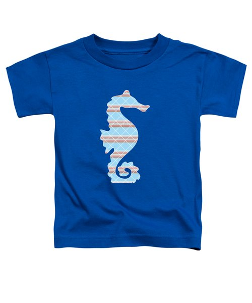 Blue Seahorse Art Toddler T-Shirt by Christina Rollo