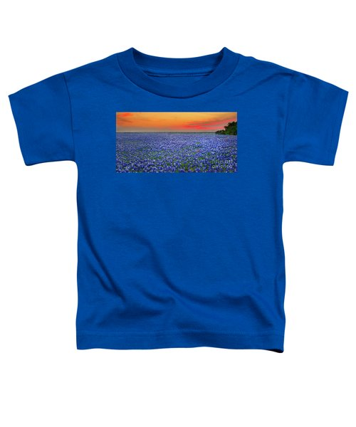 Bluebonnet Sunset Vista - Texas Landscape Toddler T-Shirt