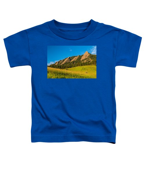 Boulder Colorado Flatirons Sunrise Golden Light Toddler T-Shirt