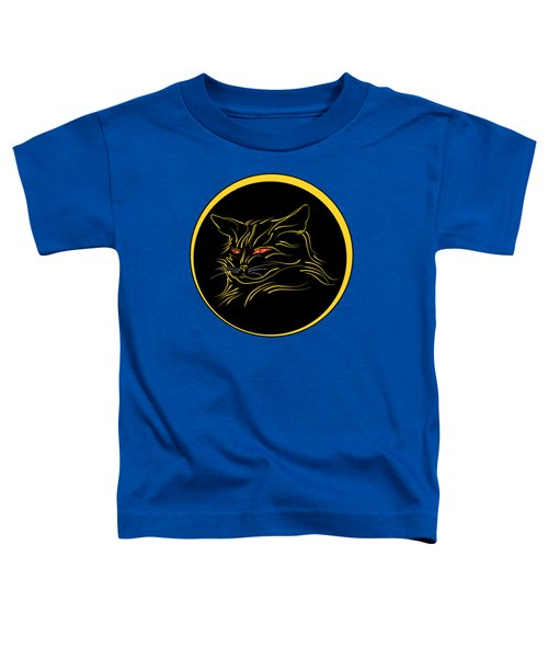 Calligraphic Black Cat And Moon Toddler T-Shirt