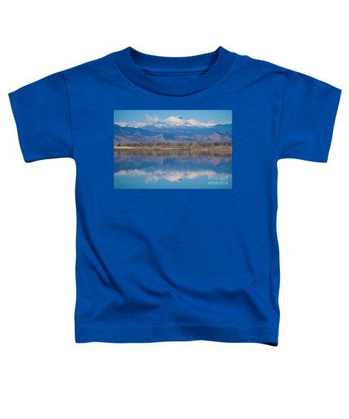Colorado Longs Peak Circling Clouds Reflection Toddler T-Shirt