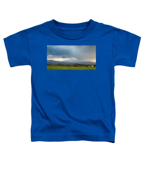 Toddler T-Shirt featuring the photograph Colorado Rocky Mountain Red Barn Country Storm by James BO Insogna