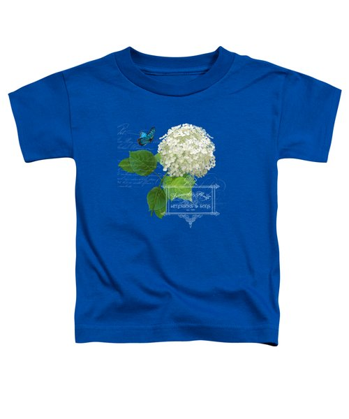 Cottage Garden White Hydrangea With Blue Butterfly Toddler T-Shirt by Audrey Jeanne Roberts