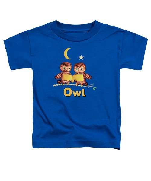 Cute Baby Owls Starry Night And Moon Toddler T-Shirt