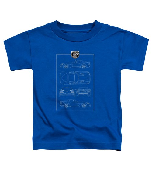 Dodge Viper  S R T 10  Blueprint With Dodge Viper  3 D  Badge Over Toddler T-Shirt by Serge Averbukh