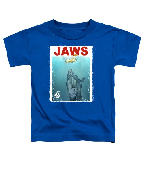 Dog-themed Jaws Caricature Art Print Toddler T-Shirt