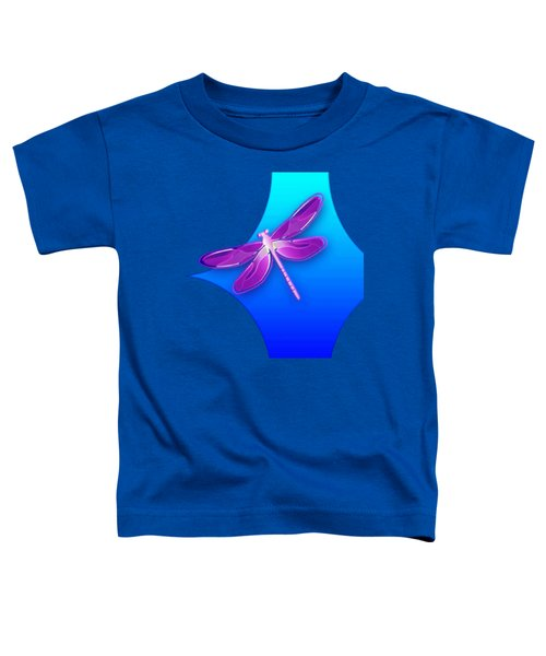Dragonfly Pink On Blue Toddler T-Shirt