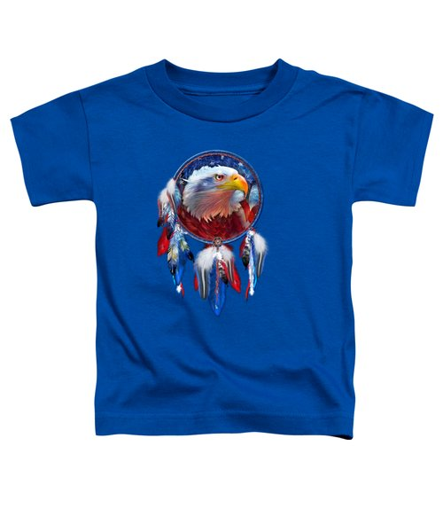 Dream Catcher - Eagle Red White Blue Toddler T-Shirt by Carol Cavalaris