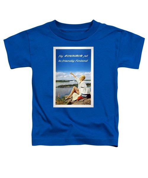 Fly Finnair Jet To Friendly Finland - Finland Airways - Retro Travel Poster - Vintage Poster Toddler T-Shirt