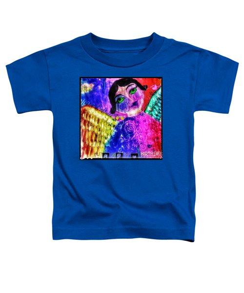 Folk Art Happy Birthday Angel Toddler T-Shirt